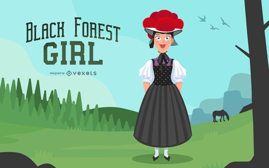 Germany Forest Girl Illustration