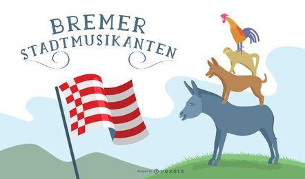 Projeto da ilustração de Bremer Stadtmusikanten