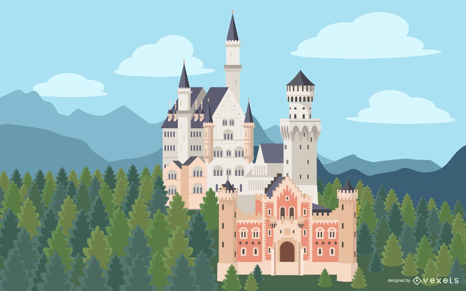 Diseño de ilustración del castillo de Neuschwanstein