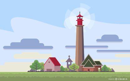 German Lighthouse Illustration