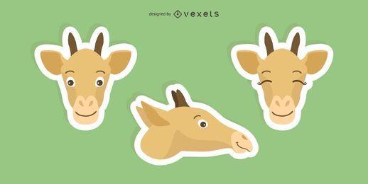 Conjunto de pegatinas de jirafa