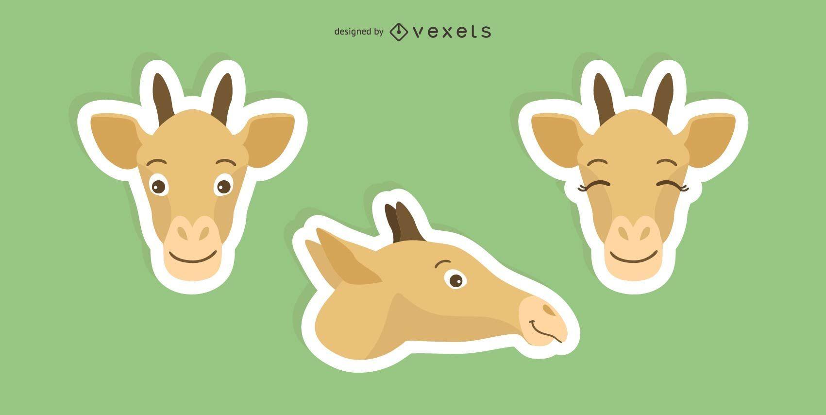 Conjunto de adesivos de girafa