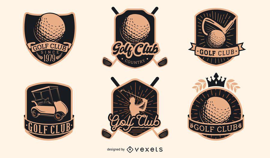 Coleção de emblemas do clube de golfe