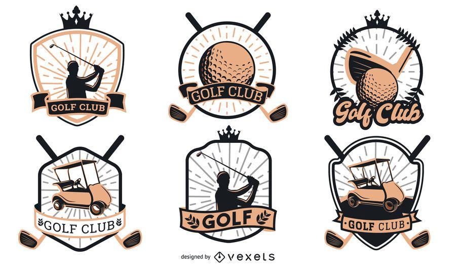 Diseño de logotipo de insignias de golf