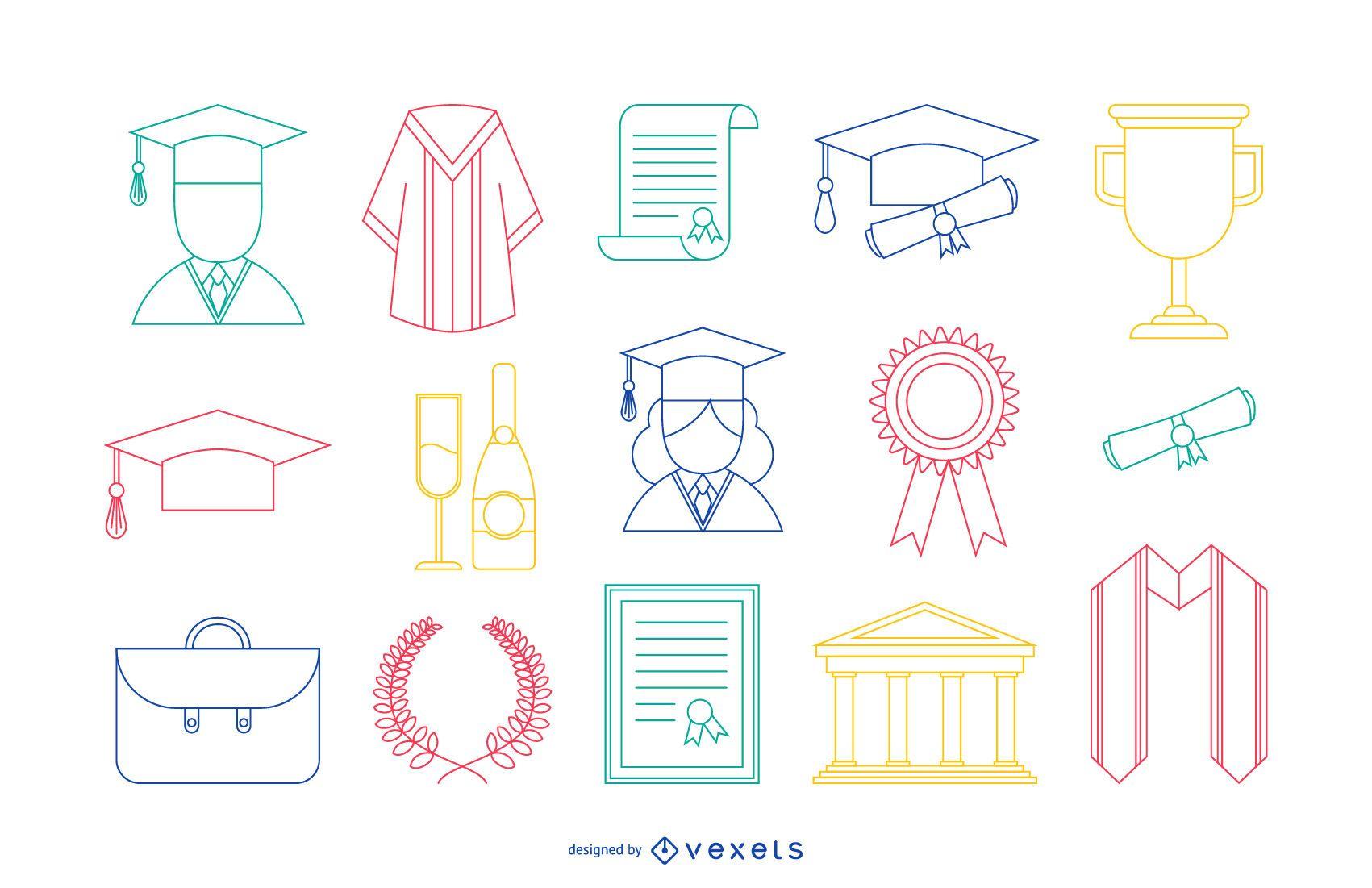 Iconos de Stoke de graduación