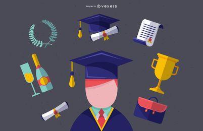 Ilustración de graduado masculino