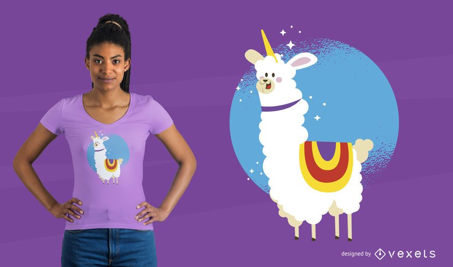 Diseño de camiseta de alpaca unicornio