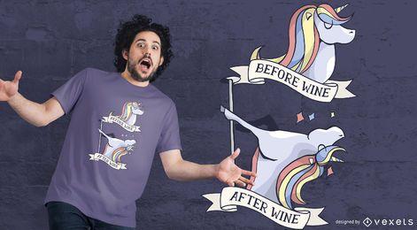 Diseño de camiseta antes y después del vino