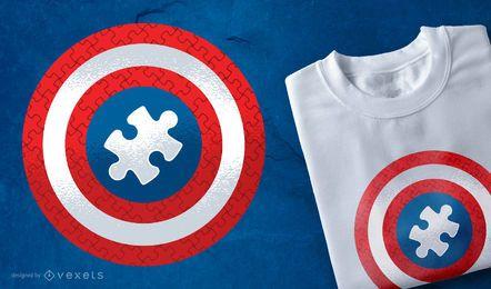Design de t-shirt de escudo de quebra-cabeça