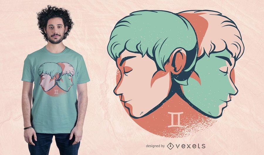 Projeto do t-shirt do horóscopo dos Gêmeos