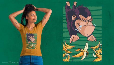 Gorilla Chasing Bananas T-Shirt Design