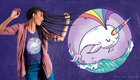 Diseño de camiseta de arco iris Narwhale