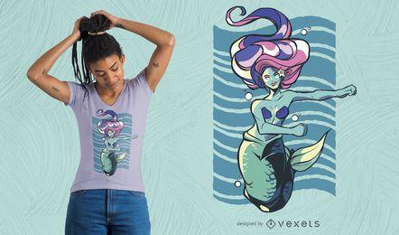 Diseño de camiseta de sirena danzante