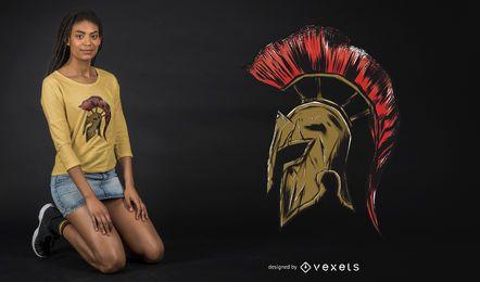 Diseño de camiseta con ilustración de casco espartano
