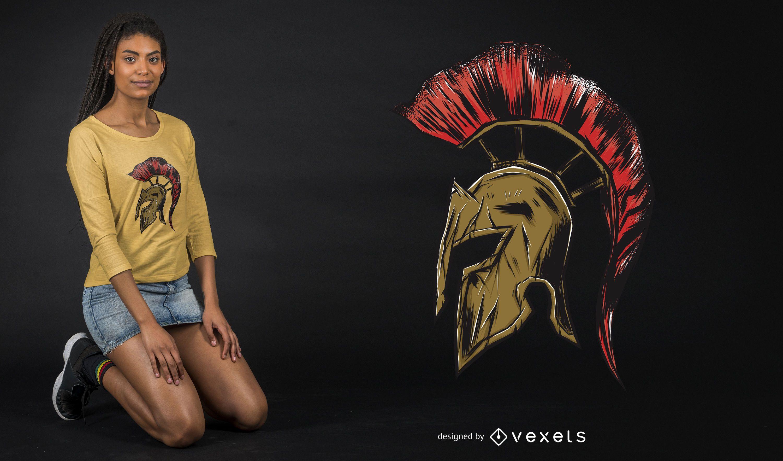 Spartan Helmet Illustration T-Shirt Design
