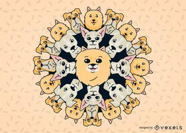Perro mandala ilustración