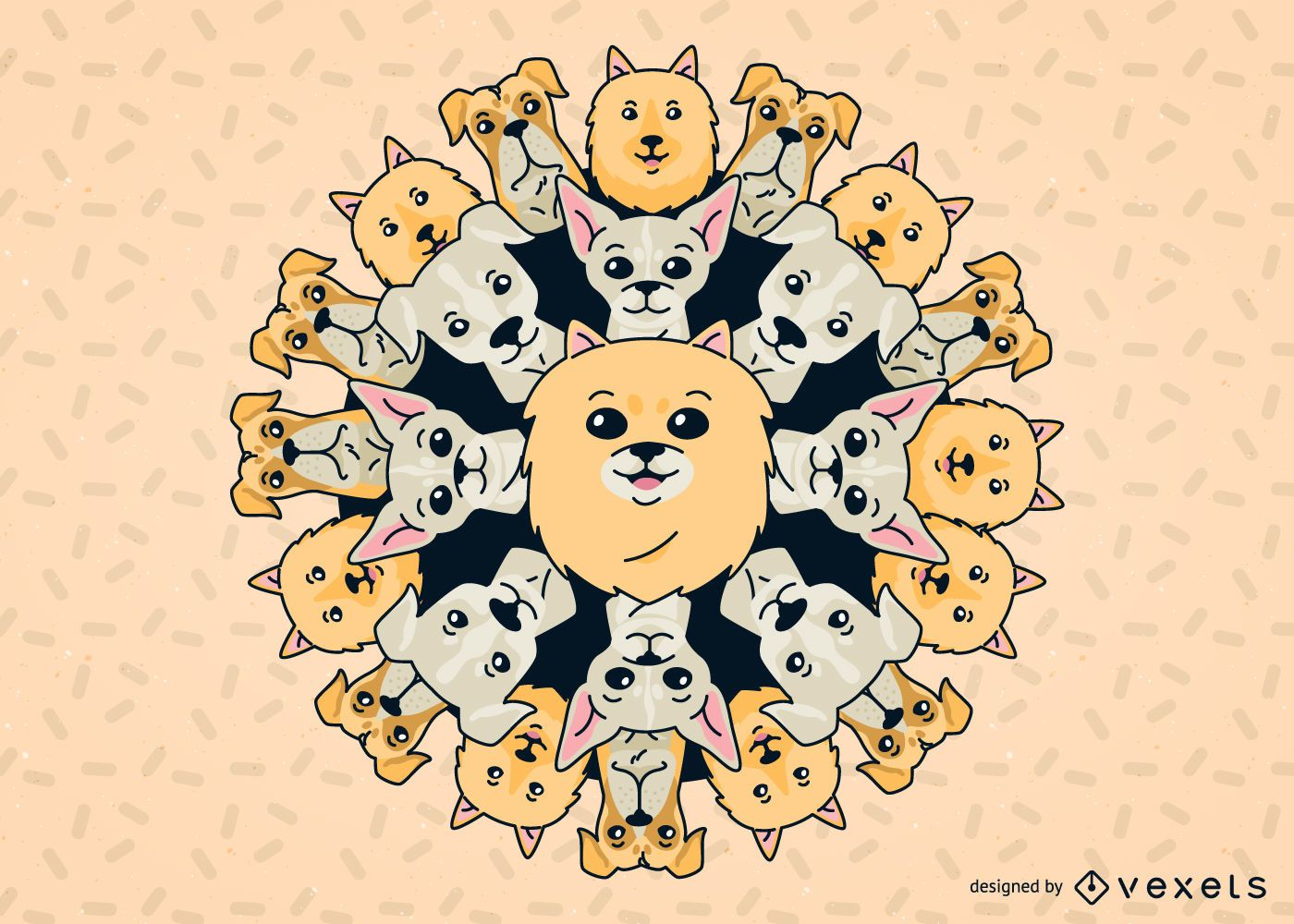 Ilustração de mandala de cachorro