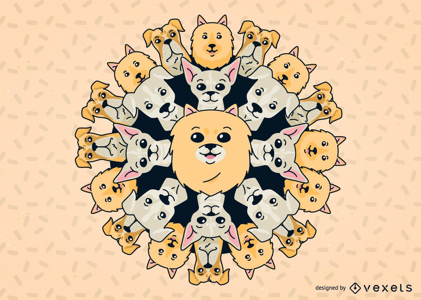 Ilustración de Mandala de perro