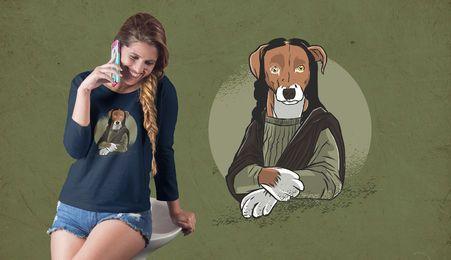 Diseño de camiseta de perro monalisa