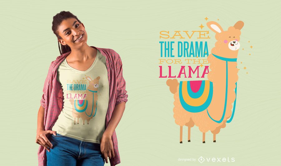 Diseño de camiseta Drama Llama