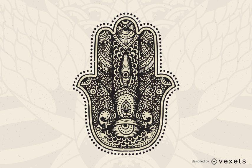 Mano, mandala, ilustración
