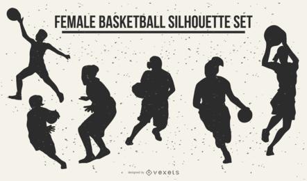 Siluetas de baloncesto femenino