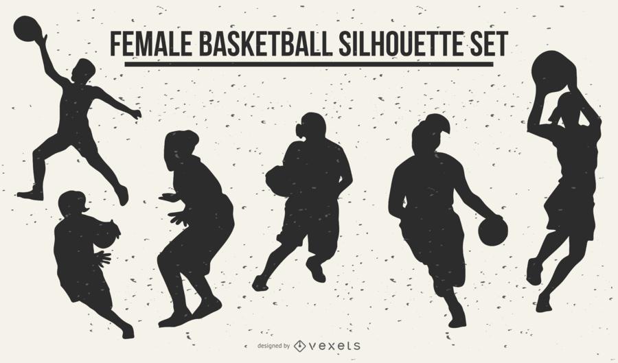 Silhuetas de basquete feminino