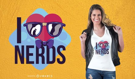 Diseño de camiseta Love Nerds