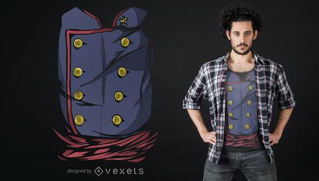 Diseño de camiseta de uniforme militar vintage