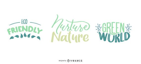 Conjunto de letras de la naturaleza
