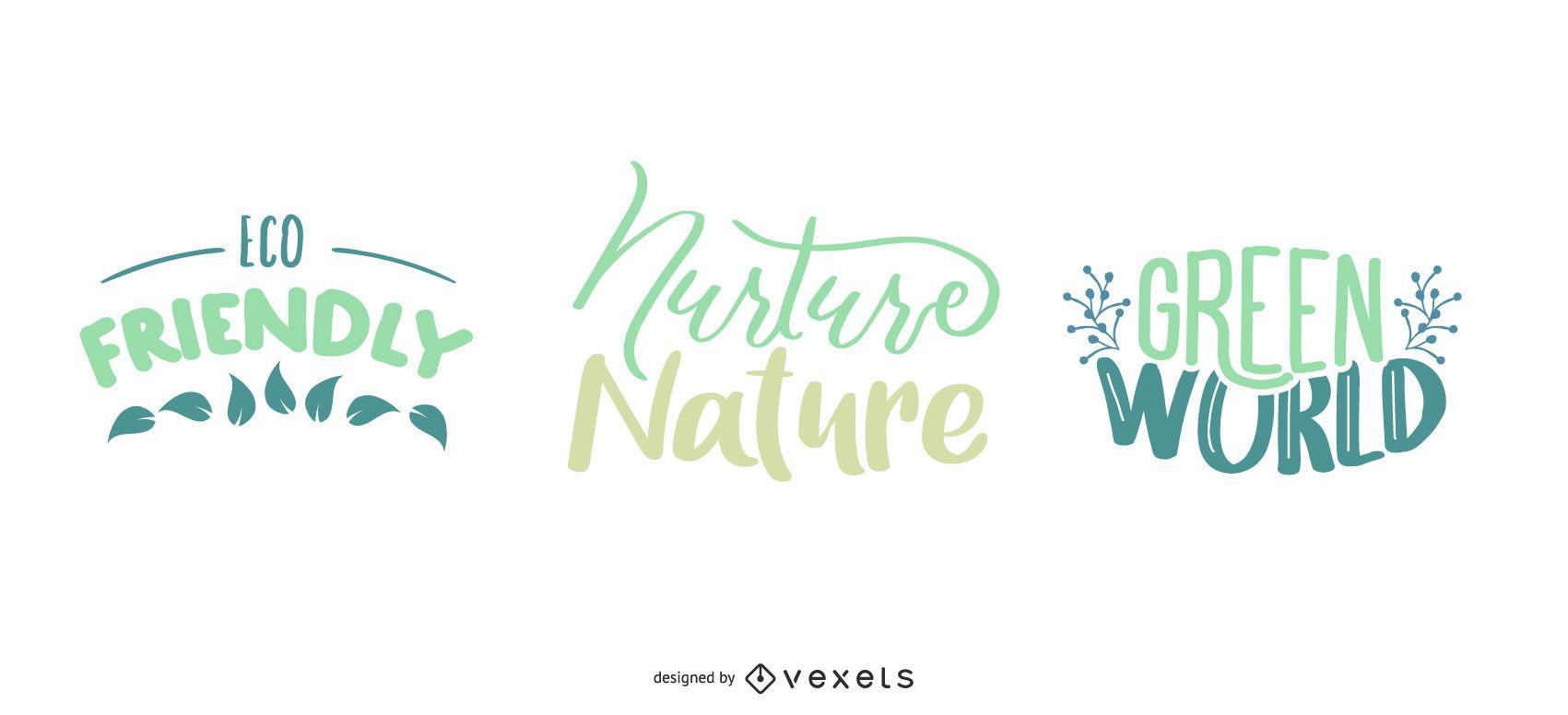 Natur Schriftzug Set