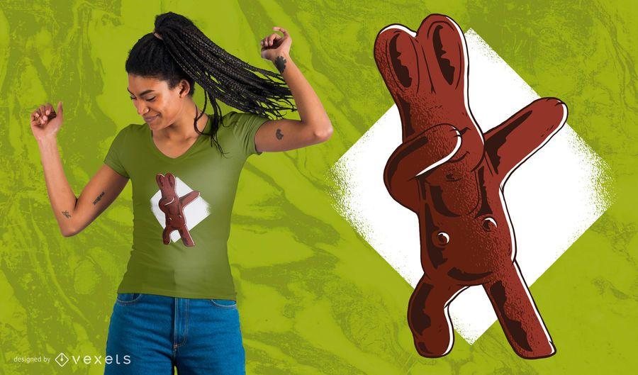 Diseño de camiseta de chocolate conejito de Pascua Dabbing