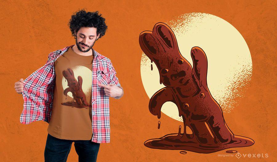 Diseño de la camiseta del conejito de pascua del chocolate