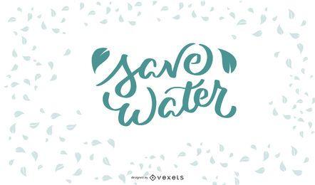Ahorre agua diseño de letras