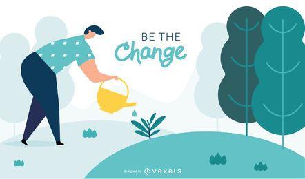 Ser la ilustración de cambio