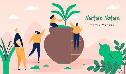 Nutrir el diseño de ilustración de la naturaleza