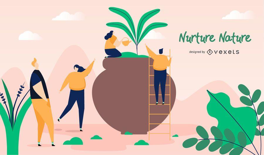 Nutrir la naturaleza ilustración diseño