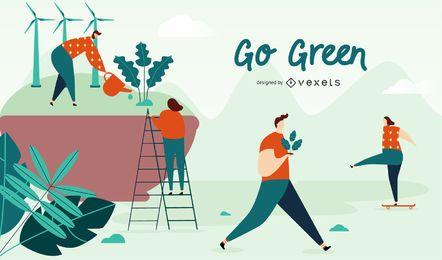 Ir, verde, ilustração, desenho