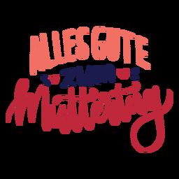 Alles gute zum muttertag corazón alemán etiqueta de texto