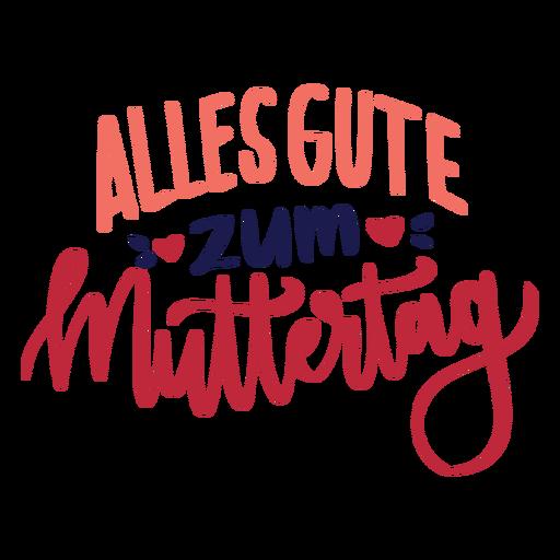 Alles gute zum muttertag deutscher Herztextaufkleber Transparent PNG