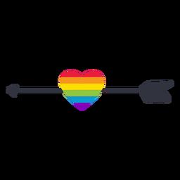 Etiqueta do lgbt do arco-íris do coração da seta
