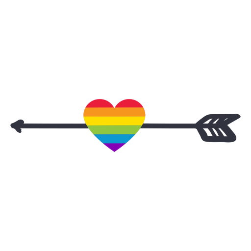 Arrow heart rainbow lgbt sticker Transparent PNG