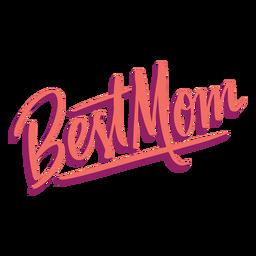 Etiqueta engomada del texto inglés de la mejor mamá