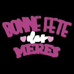 Bonne fete meres corazón francés etiqueta de texto
