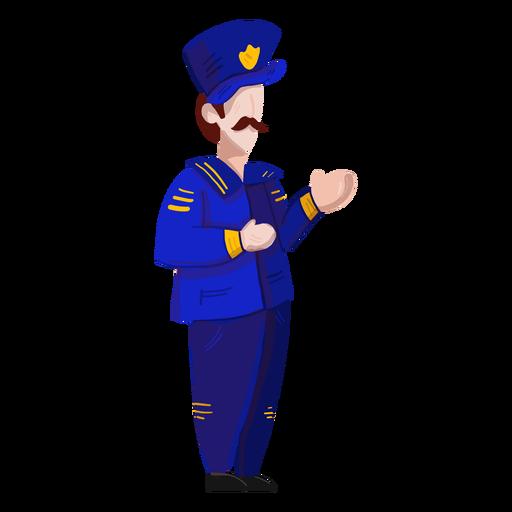 Captain uniform badge mustache illustration