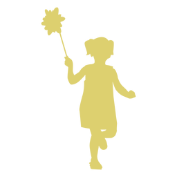 Silhueta de criança criança menina flor vestido