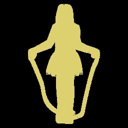 Garota de garoto de criança pulando corda pular corda silhueta de pular corda