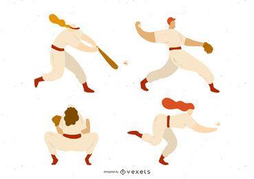 Baseball-Spieler-Illustrations-Satz