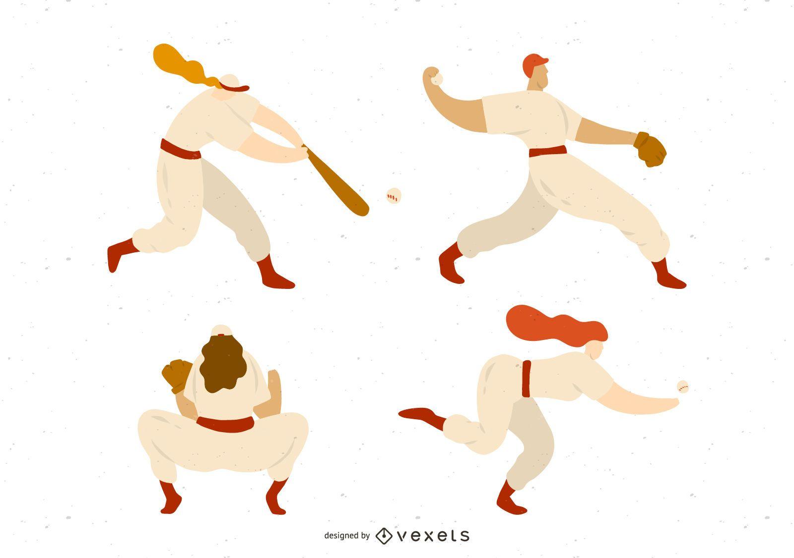 Baseball Players Illustration Set