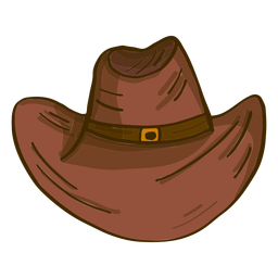 Cowboy hat front view cartoon